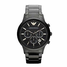 Schwarze Emporio Armani Armbanduhren mit Edelstahl-Armband