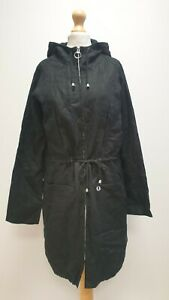 WOMENS FRED PERRY BLACK HOODED LIGHTWEIGHT FULL ZIP TRENCH COAT UK 10 EU 38