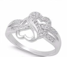Rhodium Plated Infinity Promise Heart Love Knot Ring Clear CZ Size 7