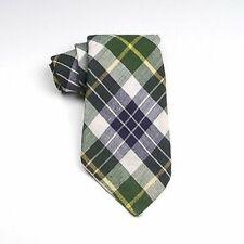 1970s Mens Green Blue Plaid Madras Necktie Neck Tie Cotton Carson Pirie Scott
