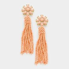 Peach Floral Seed Bead Tassel Fashion Statement Dangle Chandelier Earrings