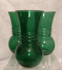 Set Of 3 Vintage Anchor Hocking Forest Green Glass Ball Bottom Ring Flower Vases