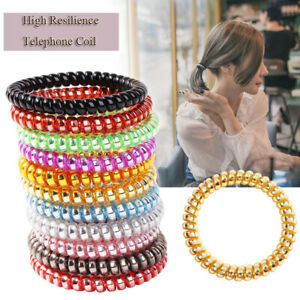 Elastic Rubber Coil Hair Ties Band Ropes Womens Ponytail Holder Soft Gel Spiral