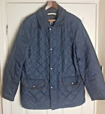 Crew Clothing Co Men's Blue Quilted Padded Button Zip Coat Jacket Size Large
