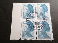 FRANCE BLOC timbres 2190 LIBERTE' DELACROIX, oblitéré 1982 cachet rond, QUARTINA