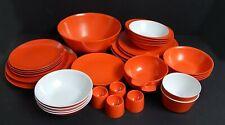 More details for vintage orange gaydon melmex & melaware dinnerware 37 pcs