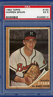 1962 Topps #100 - WARREN SPAHN (HOF) - Milwaukee Braves - PSA 5 EX