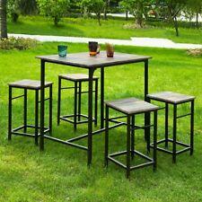 SoBuy® Set de 4 Taburetes y 1 mesa de jardín, juego de 5 piezas, OGT11-N, ES