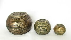 India Antiques, 3 Sizes Trade-bowls - Dhokra Bowl from Orissa