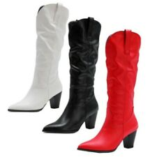 44/50 Women Wedding Bridal Pumps Casual Office Work Pull On Knee High Boots D