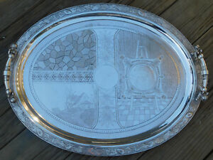 Large Antique Victorian Engraved Silverplate Tray Laboring Cupids Boston 1880