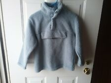 Mini Boden Boys 9/10 Sherpa Fleece Pullover Light Blue
