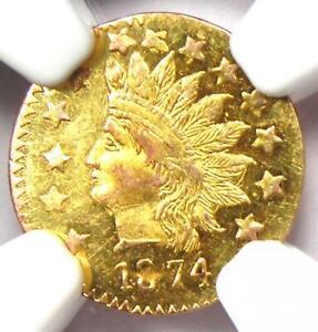 1874 Indian California Gold Half Dollar 50C BG-1072 R6 - NGC UNC MS - Rarity-6!