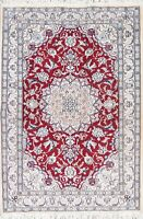 "NEW Wool/SILK Floral 5'x7' Nain Oriental Hand-Knotted 6' 6"" x 4' 6"" RED Area Rug"