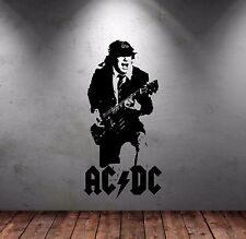 ANGUS YOUNG WALL STICKER - ACDC WALL ART - METAL - ROCK GUITAR - BAND STUDIO ART