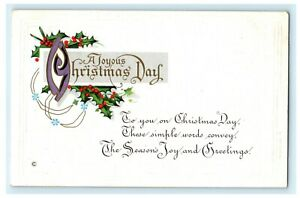 Merry Christmas Day Holly Embossed c1910 Vintage Antique Postcard