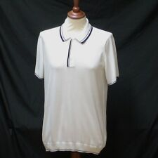 WHITE FINE KNIT COLLARED JUMPER LEATHER LOGO BY MULBERRY UK M NET A PORTER