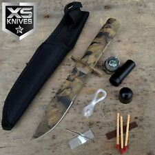 "8.5"" Fixed Blade Light Brown Woodland CAMO Survival Knife with Sheath"
