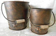 Home Interiors Tin Star Planter Pails Pair