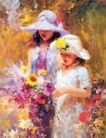 CHENPAT339 portrait ladys with flower art hand-painted oil painting on canvas