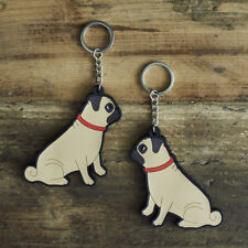PUG Keyring, Novelty Gift, PVC Dog Key Ring, Bag Charm, Secret Santa FREEP&P