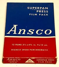 "ANSCO  3 1/2"" X 4 3/4"" SUPERPAN PRESS  FILM PACK--- VINTAGE AND COLLECTIBLE!"