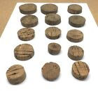 15 Antique Cork Pharmacy Bottle Stoppers Corks 1 1/4 to 2 1/2 Inch Diameter Lot