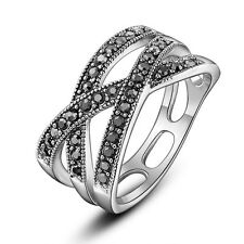 Retro Cross Ring Rhodium Plated Silver-tone Vintage Marcasite Ring Size 7 R1031