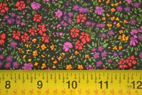 By 1/2 Yd, Red Purple & Yellow Calico on Black Quilting Cotton, N394