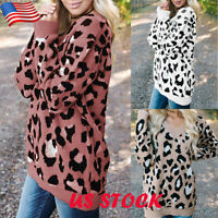 Womens Loose Knit Leopard Long Sleeve V-Neck Sweater Jumper Tops Pullover Blouse