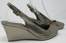 Clarks size 6 (39) D pewter leather high heel wedge slingback sandals