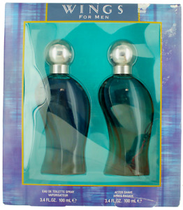 Wings by Giorgio Beverly Hills Set for Men: 3.4 oz EDT Spray + Aftershave