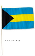 "12x18 12""x18"" Bahamas Country Stick Flag 30"" wood staff"