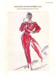 "HALSTON  Original Full Color Fashion Illustration circa 1984 - 8.5"" x 11"""