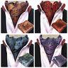 Men Stylish Paisley Floral Cravat Ascot Necktie Matching Hanky Pocket Square Set