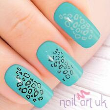 Silver Leopard Print Water Decal Nail Stickers Transfers Tattoos Art 01.03.012