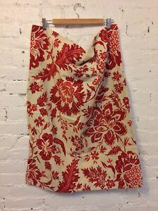 Pottery Barn Pillow Sham Cotton Linen Red Floral Standard