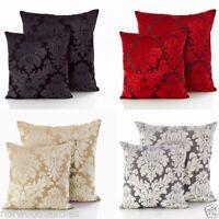 "Downton Velvet Damask Cushion Cover 18"" x 18"" / 22"" x 22"" 4 Colours Available"