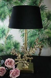 """Elegante Colmore Lamp Aluminium Gold """" Coral """" Lampshade Velour Black 46cm New"""