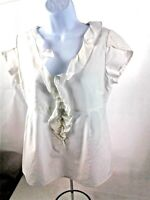 Fossil Womens White Blouse w/V-Neck & Ruffled Collar - Cotton Silk Blend Size S