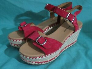 Women's Lucky Brand Naveah 3 Red Suede Leather Wedge Espadrille Sandals Size 9