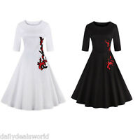 Retro Swing Housewife Rockabilly 50s Vintage Pinup Evening Party Prom Dress Swan