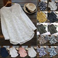 Vintage Women Ladies Cotton Linen Tops Blouse Casual Summer Baggy Tunic T-Shirts