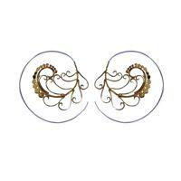 Spiral Earring Brass Silver 92.5 Hook Tribal Vintage Gypsy Boho Women Jewelry