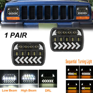 7x6'' LED Headlight Sequential Turn Hi-Lo Beam Halo DRL For Jeep Cherokee XJ YJ