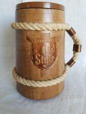 """Vintage""""Old Style""""Wood Beer Stein Cup Mug w/Rope & Copper Handle"""