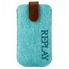 Custodia Pouch per iPhone 4/4S Aqua Denim Tessile Pelle Bolla Blu
