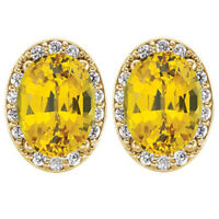 1 3/8 ct Genuine Oval Sapphire Halo Diamond Studs 14k Yellow Gold