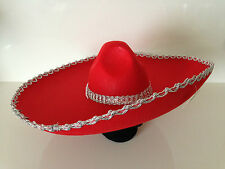 Red Felt Silver Trim Mexican Sombrero Hat Spanish Fiesta Party Bandit Costume