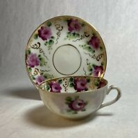 Antique Gold Gilt Hand Painted Roses Tea Cup & Saucer Set Unmarked Delicate